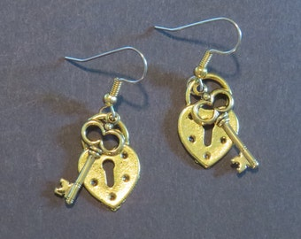 Heart Lock & Key Earrings 24 Karat Gold Plate Valentine Love Key to My Heart Valentines Day Gift EG441