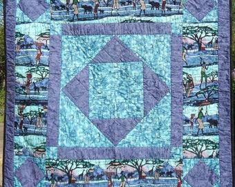 Purple Batik Sahara Scene Patchwork Quilt