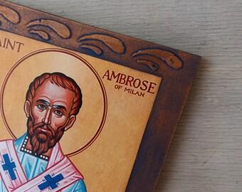 Saint Ambrose,Small Icon of St Ambrose,Ambrose of Milan,Mini Icon,Small Wooden Icon