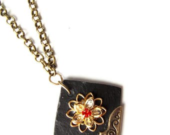 Necklace in Slate and floral pendant
