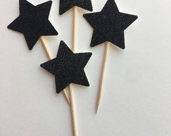 Black Glitter Star Cupcake Topper. Cake Topper. Cupcake Decor. Cake Decor. New Years Party Decor.