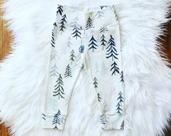 Tree Forrest Baby Pants, Organic Winter Baby Pants, Christmas Tree Baby Pants, Organic Baby Leggings, Gift for Newborn, Baby Shower Gift