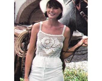 Vintage Camisole Crochet Pattern Rose Filet Crochet Camisole Peplum Top Crochet Pattern Womens Instant Download PDF Pattern- C195