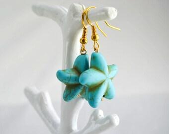 Earrings starfish - Earrings turquoise - Earrings golden - boho - bohemian - ethnic - gift for her
