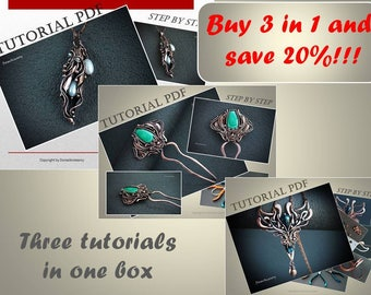 3 in 1 Tutorials wire wrapped hair pin, sheet copper pendant and necklace PDF, wire wrap tutorial, tutorial wire wrap jewelry, wire tutorial