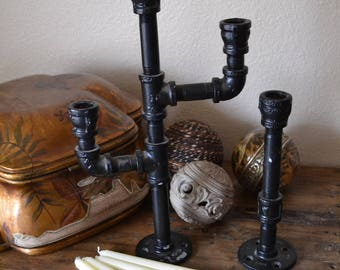 Pipe Candleholders - set of 2