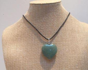 Cord aventurine heart gemstone necklace