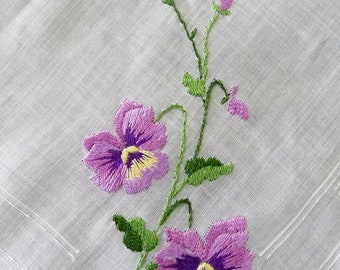 Vintage Embroidered Hankie Purple Pansy Flowers, Made in Switzerland, NEW