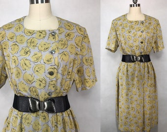 Japanese Vintage Abstract Floral Print Dress / Day Dress / Party Dress / Made in Japan / Size Medium Large
