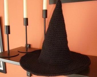 Halloween Witch hat. Crochet witch hat. Kid witch hat. Halloween hat. Black witch hat. Halloween decoration