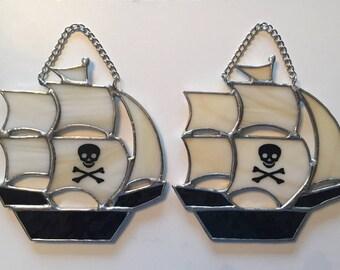 Handmade Stained Glass Pirate Ship Suncatcher