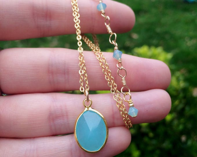 18K Gold filled Aqua Chalcedony necklace choker blue green Chalcedony gemstone necklace sea green pendant Aqua blue jewellery jewelry gift
