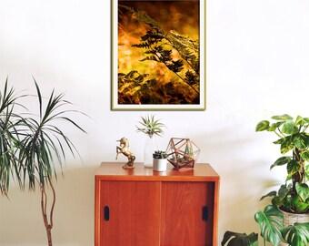 Botanical Poster, Oversized Wall Art, Fern Print, Nature Art, Gold Wall Decor, Office Wall Art, Yellow Home Decor, Botanical Art