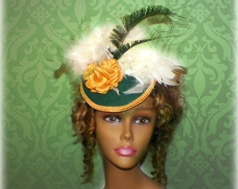 Victorian Hat Green Gold Fascinator Gothic Steampunk Lolita Costume Cream Ivory Color Headpiece Old West  Marie Antoinette
