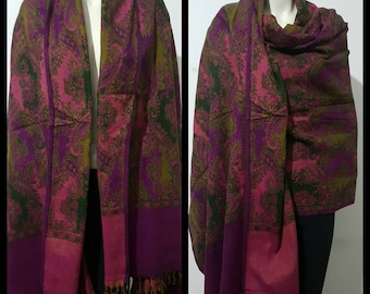 Real wool winter scarf/himalayan made PINK multi COLOUR paisley print/flora DOUBLE sided oversized scarf/shawl/wrap/blanket,High quality