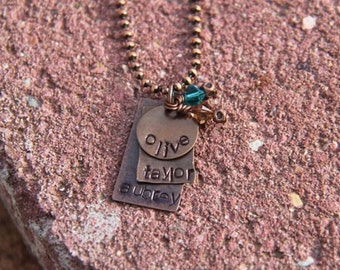 Hand Stamped Copper Mother's Necklace with Personalized Names with 2 Rectangles and a Circle Disk. Turquoise and Topaz Birthstone Crystal