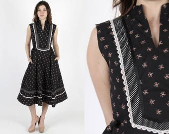 Vintage 70s Gunne Sax Dress Black Calico Floral Hippie Boho Prairie Midi Mini Dress M