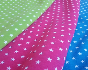 Fleece-Backed Organic Cotton Knit Fabric / Jersey: Blue, Green or Pink With Star Print - UK Seller