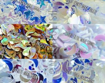 NOVA polish's Nail Art Glitter- Opal Glitters, Moon Glitters, Star Glitters, Heart Glitter, Gold, Silver, Opaque Reflective Glitter (Sample)