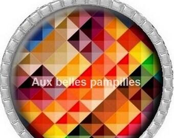 Round Cabochon pendant 25 mm epoxy - shapes geometric multicolored (1447)