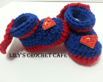 Hand Crochet | Superman Baby Booties | Newborn to 3 months | Ready to Ship