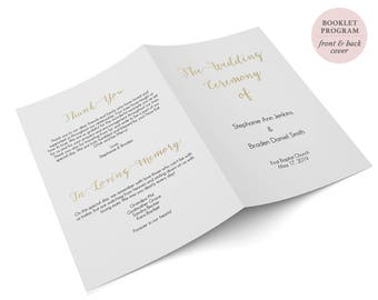 "Gold Booklet Program - Folded Program Printable - DIY Template - Instant Download Editable PDF - Gold Wedding Program - 5.5"" x 8.5""- #GD0813"