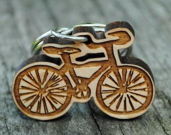 Bike Wooden Keychain Bicycle Key Ring