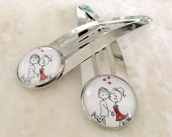 Silver hair clips / In Love