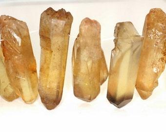 Lemon Quartz Crystal Point Gemstone Yellow Point 46x16-16x16MM Loose Beads 6.5 inch Half Strand (90143528-B77)