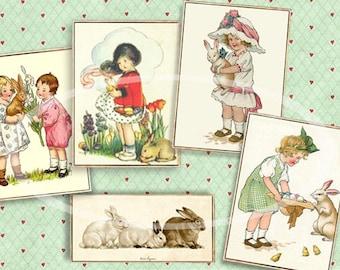 Vintage Easter Cards, Digital Easter Tags, Bunny gift Tags, Printable Tags, DIY Easter Bunny Cards, Easter basket tags scrapbook clip art