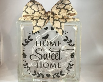"""Decorative Lighted Glass Block - """"Home Sweet Home"""" (8 inch)"""