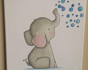 Toby the Elephant- Nursery Wall Art, Baby Nursery Wall Decor, Baby Nursery Art, Elephant Nursery, Baby Elephant Decor, Grey Nursery