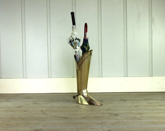 Vintage Brass Boot Umbrella Stand with Spur Holder Hollywood Regency Mid Century Western Cowboy Ranch Style