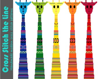 Modern cross stitch pattern in rainbow colours. Contemporary tribal embroidery design of a kaleidoscope of giraffes.