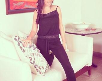 Black Loungewear / Pajama Set with Lace