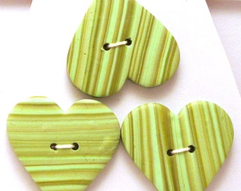 Large Heart Buttons Green Handmade Polymer Clay 30x 28mm