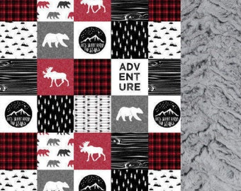 Baby Adventure Blanket/Quilt, Baby Lumberjack Nursery Blanket/Quilt,Moose,Bear,Arrows,Plaid,