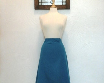 Teal A Line Skirt Vintage 70s / 80s Turquoise Skirt - M / L