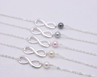 Set of 7 Bridesmaid Bracelets, 7 Infinity Pearl Bracelets, Sterling Silver Infinity Jewelry 0217