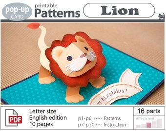 pop-up card pattern_Lion__(digital download file)
