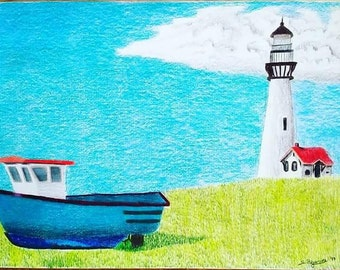 Original landscape drawing, art, boat, lighthouse, Colored pencil