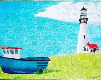 Original landscape drawing, art, boat, lighthouse, Colored pencil