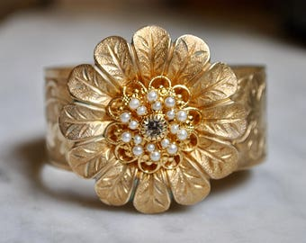 1940-50's Etched Brass Flower Cuff with Pearls