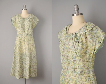 50s Dress // 1950's Sheer Nylon Tropical Palm Print Day Dress // XL