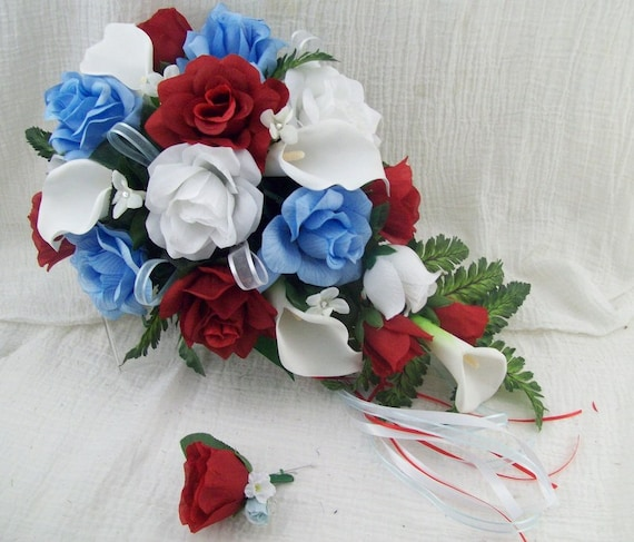 Red White and Light Blue Cascade Bridal Bouquet Wedding Flower