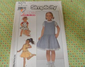 Simplicity 9271 Girls Dropped Waist Dress Sizes 6-7-8