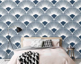 Navy Geometric Pattern Wallpaper / Simple Removable Wallpaper / Scallop Wall Mural / Geometric Wallpaper - CM012