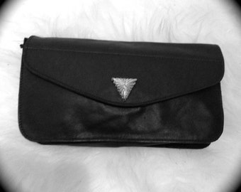 Faux Leather Clutch with Golden Triangle Button