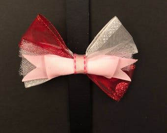 Red and White Bow with Pink Center