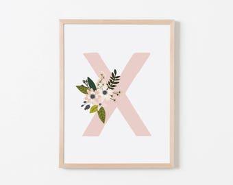 Gray Sprigs X Nursery Art. Nursery Wall Art. Nursery Prints. Nursery Decor. Girl Wall Art. Personalized Wall Art. Monogram Art. Floral Art.